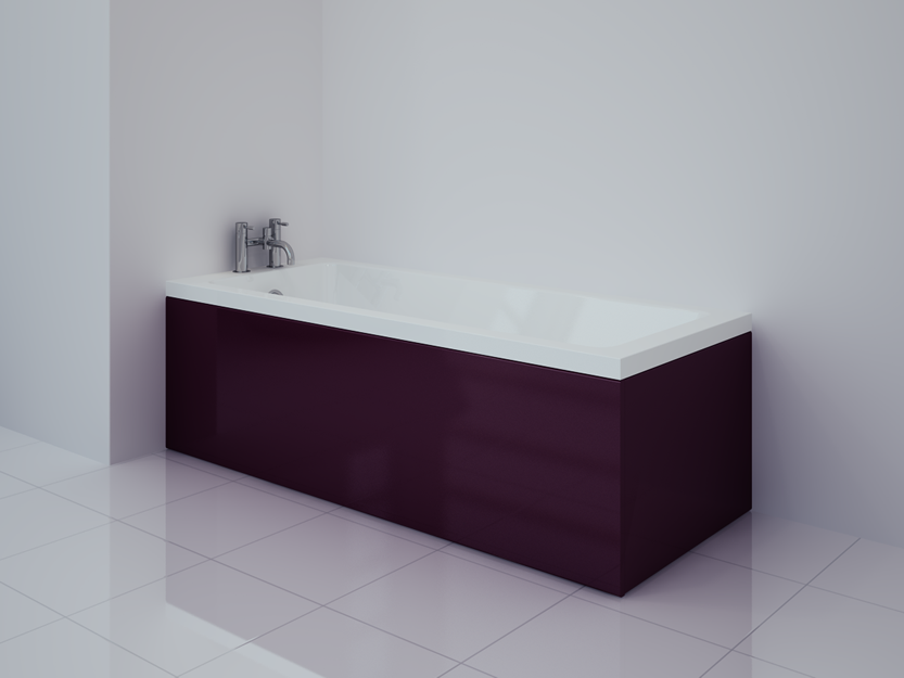 Bathcabz products accessories aubergine gloss bath panel for Aubergine bathroom accessories