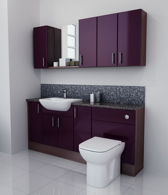 Bathcabz Bathroom Fitted Furniture Products Fitted Furniture 1800mm Aubergine Gloss
