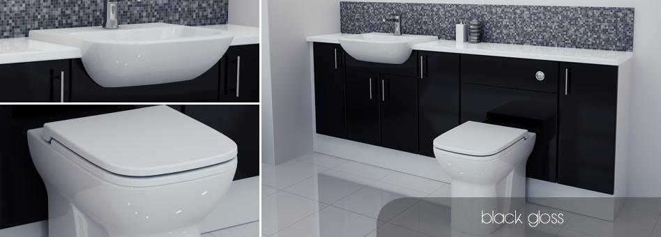 Bathcabz bathroom fitted furniture black gloss furniture for Aubergine bathroom accessories