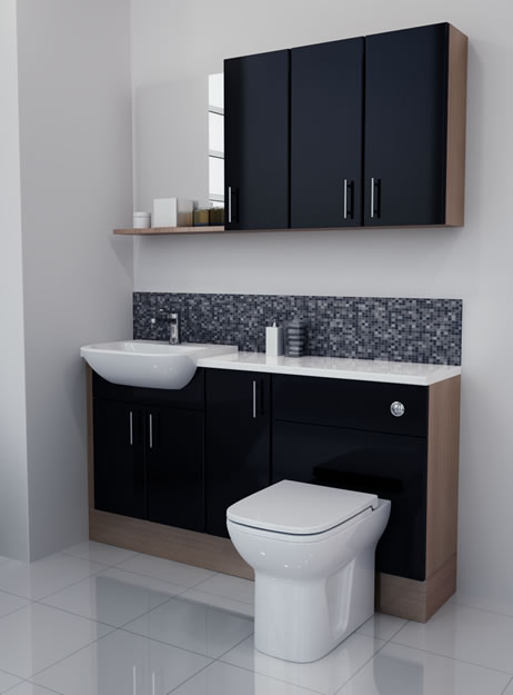 Bathcabz Bathroom Fitted Furniture Products Fitted Furniture 1500mm Black Gloss