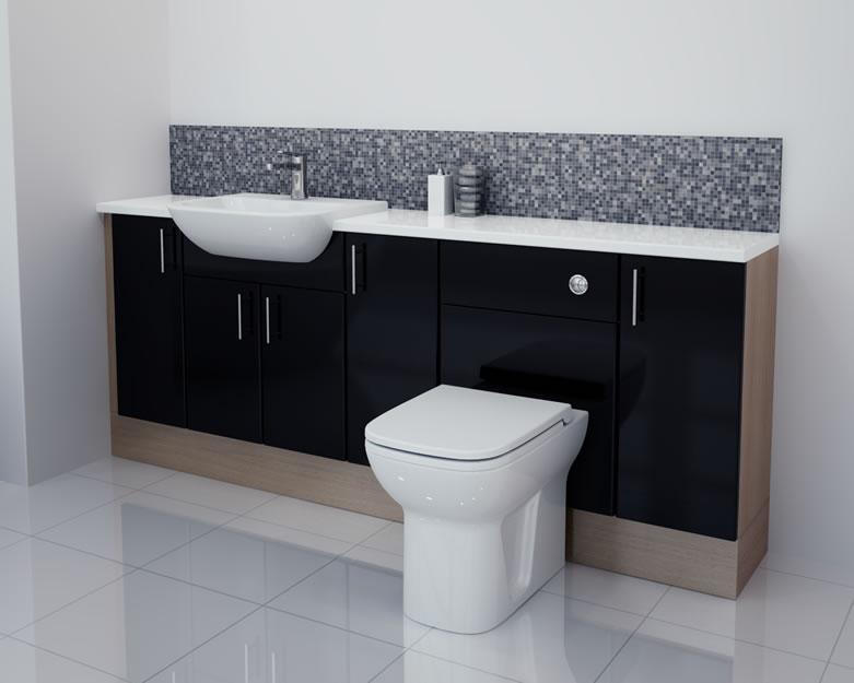 Popular Black Gloss Bathroom Furniture SetVanity Unit Wc UnitCloakroomBath