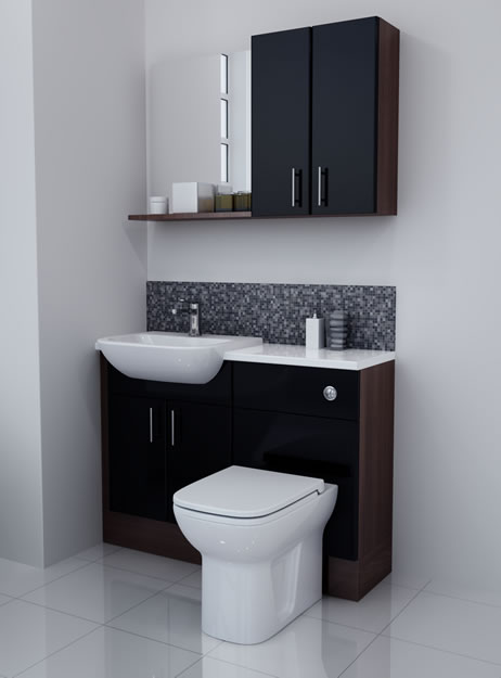 Bathcabz Bathroom Fitted Furniture Products Fitted Furniture 1100mm Black Gloss