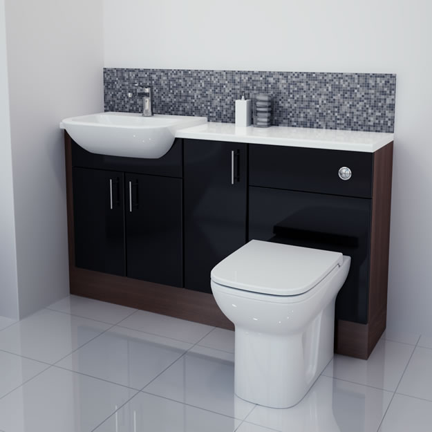 Bathcabz Bathroom Fitted Furniture Products Fitted Furniture 1400mm Black Gloss