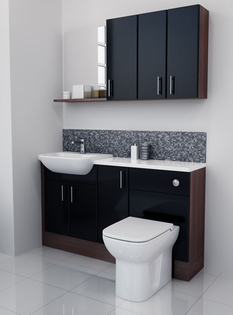 Black gloss bathroom furniture with model example in australia - Bathroom cabinets black gloss ...