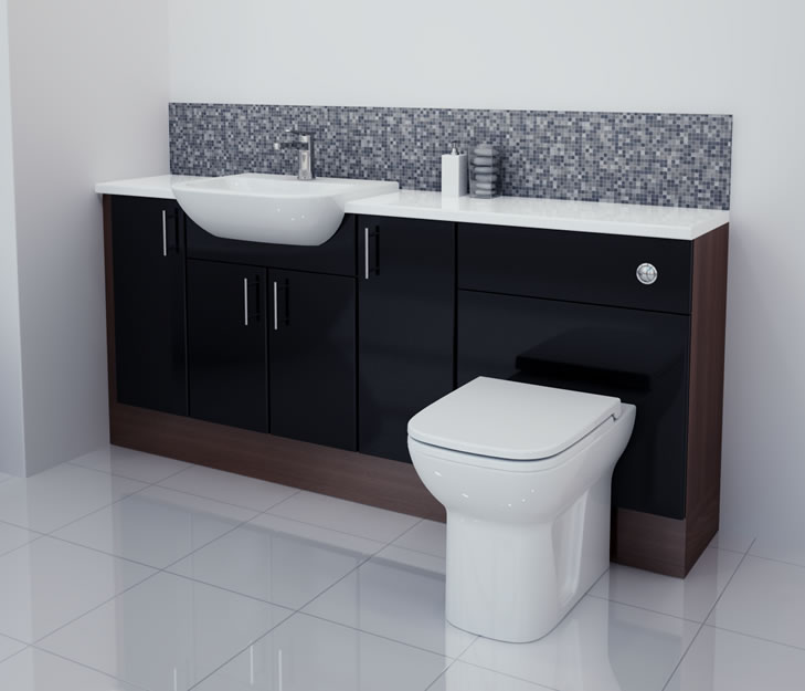 Bathcabz Bathroom Fitted Furniture Products Fitted Furniture 1800mm Black Gloss