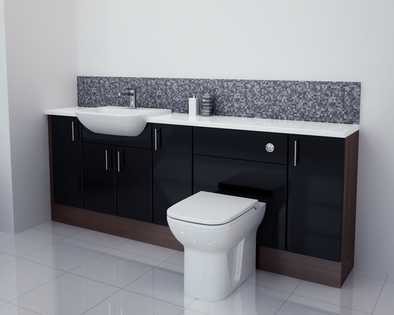 Bathcabz Bathroom Fitted Furniture Products Fitted Furniture 2100mm Black Gloss