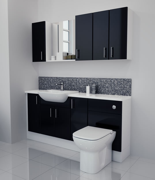 Bathcabz Bathroom Fitted Furniture Products Fitted Furniture 1700mm Black Gloss