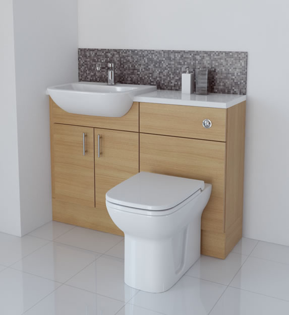 Beautiful LIGHT OAK BATHROOM FITTED FURNITURE 2100MM WITH WALL UNITS  MIRROR
