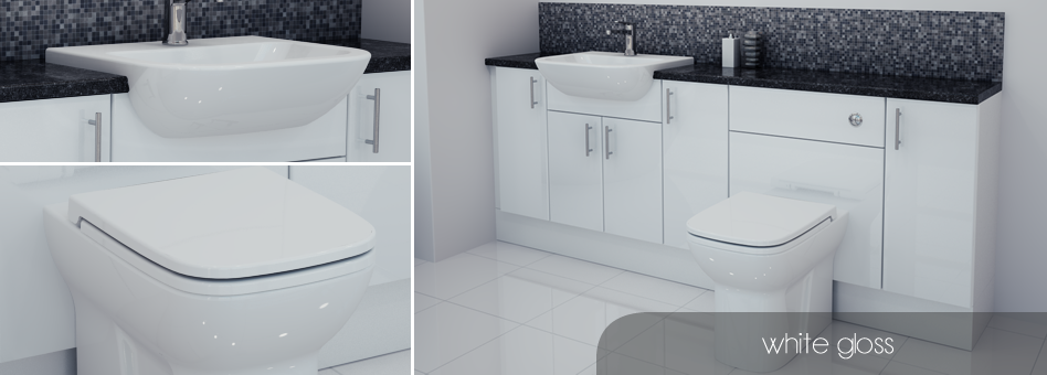 Elegant White Gloss Fitted Bathroom Furniture Units 1800mm  EBay